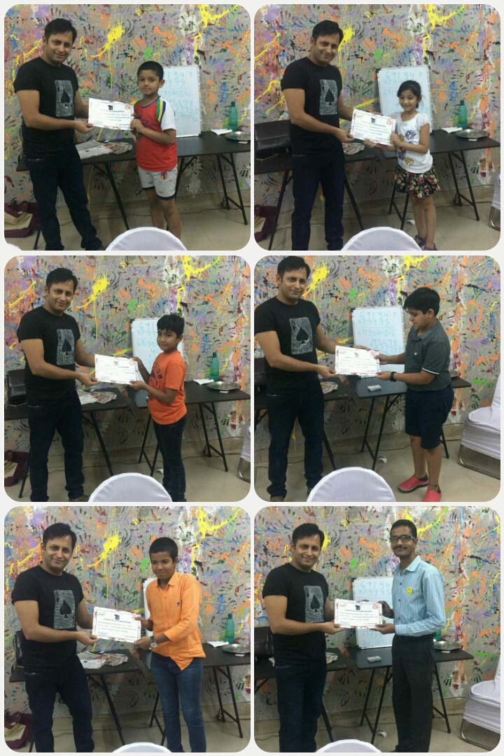 Workshop Attendees receiving CERTIFICATES from illusionist RAHUL KHARBANDA