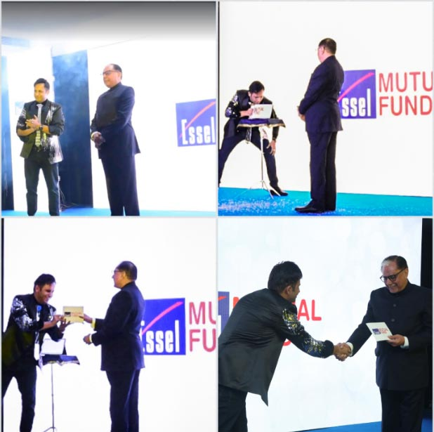 Dr.Subhash Chandra s appearence and Logo of ESSEL Mutual Fund was creatively presented by illusionist Rahul Kharbanda through a combination of Digital Acts on LED Screen & I Pad