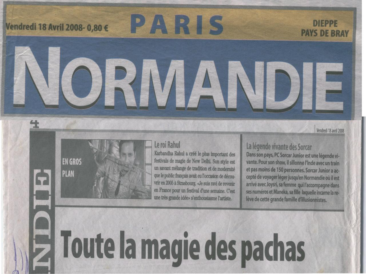 Newspaper of PARIS covering RAHULs MAGIC during his Show in FRANCE